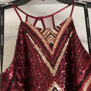 Bisou Bisou Dresses - Sequin cocktail dress, burgundy/gold/blk